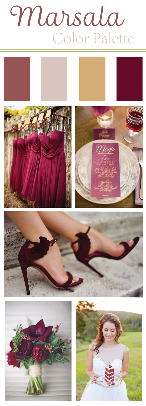 A Marsala Color Palette to highlight Pantone's beautiful color of the year to inspire help spring and fall brides with warm, inviting wedding colors.