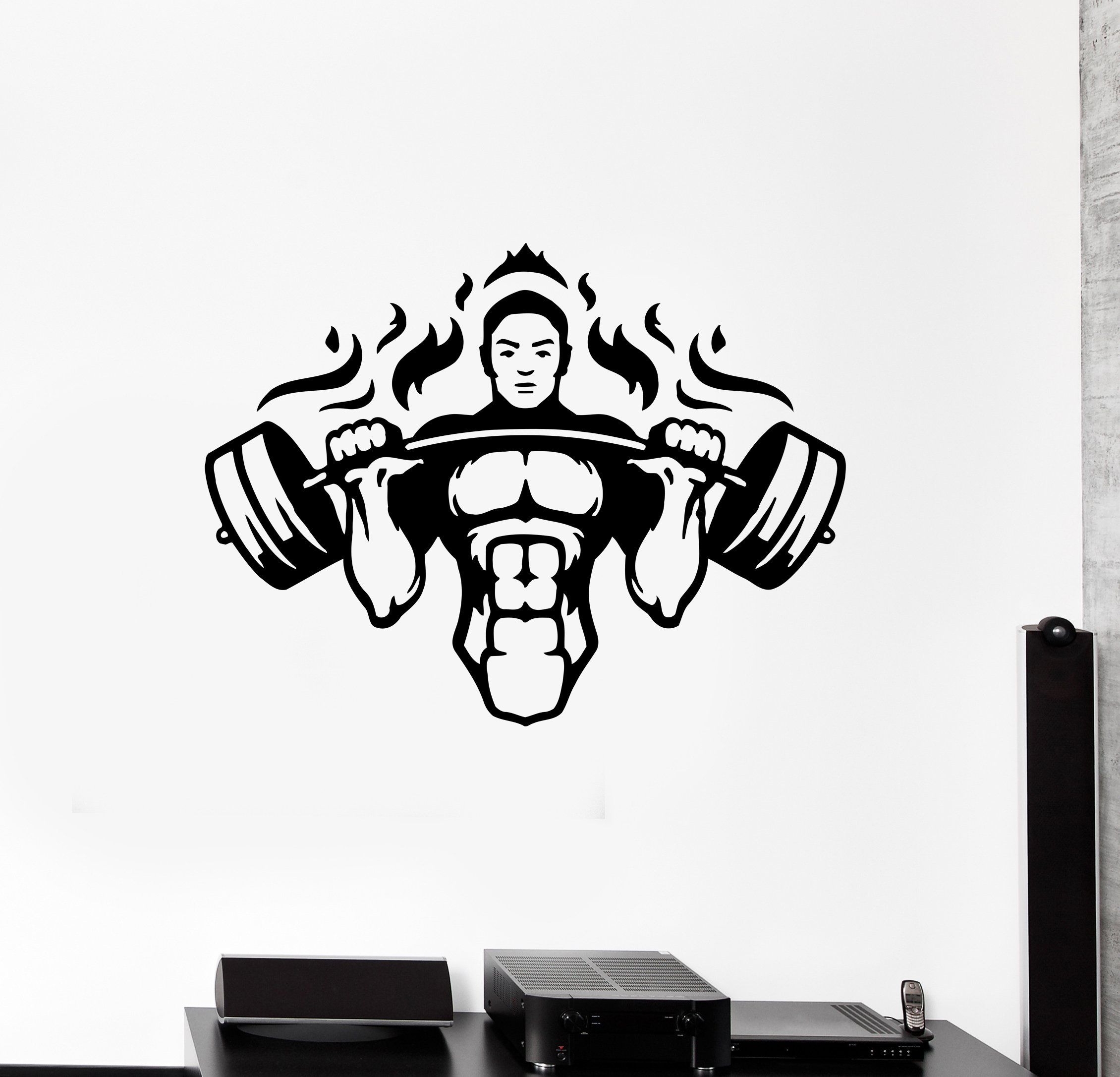 wall decal gym athlete sport fitness workout vinyl sticker on wall stickers for hall id=48685