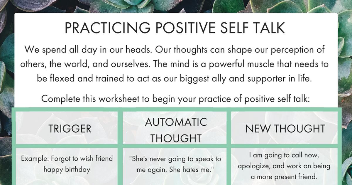 Positive Self Talk Worksheet The Confused Millennial 1 Pdf