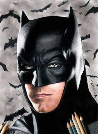 Fanart Colored Pencil Drawing Of Batman Ben Affleck By