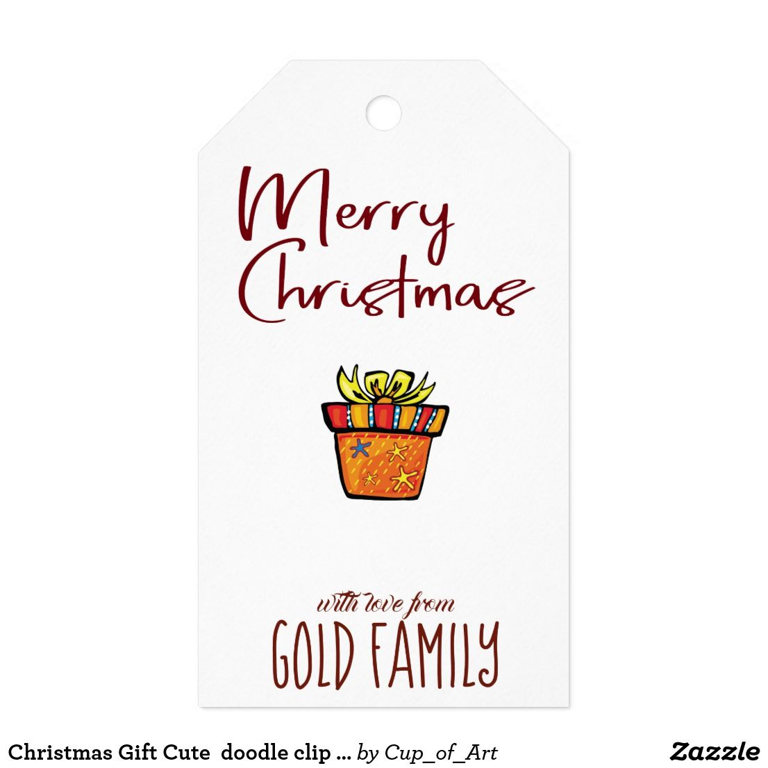 Christmas Gift Cute Doodle Clip Art Design Gifts Gift Tags Zazzle Com Designed Gift Gift Tags Family Christmas Gifts
