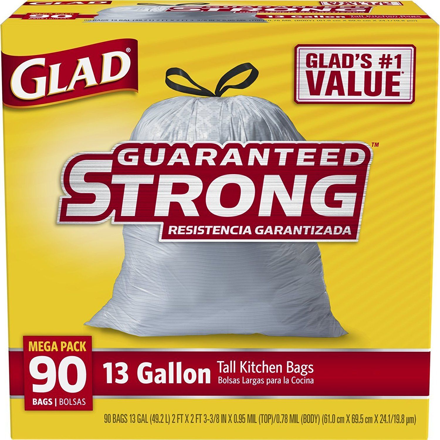 glad tall kitchen drawstring trash bags 13 gallon continue to the product at the - Tall Kitchen Trash Bags