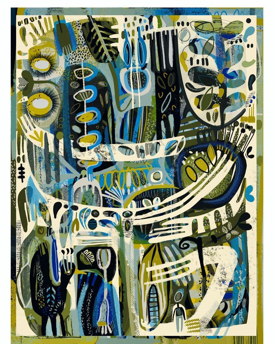 "Katfish - on Instagram: ""Digital art - #digitalart #procreateart #patterndesign #palette #botanical #abstractlandscape #surfacepatterndesign #printsforsale…"""