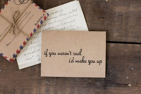 Simple Blank Card - Valentine's Day Card - I'd Make You Up - Love - Blank Greeting Card - Rustic - Brown - Black on Etsy, $4.99