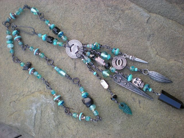 Blue Crystal Night Amulet Necklace by Maggie Zee