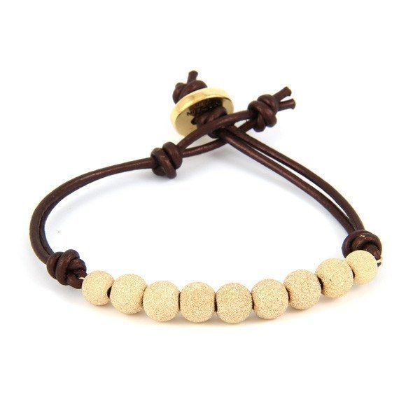 Metallic Tamba Leather and Gold Dusted Bead Bracelet with Button Closure