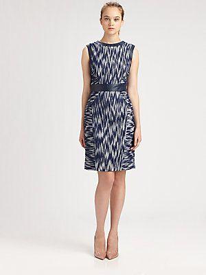 Milly Leather-Trim Sheath Dress