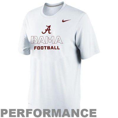 0317199f26 Nike Alabama Crimson Tide Practice Weight Room Legend Performance T-Shirt -  White