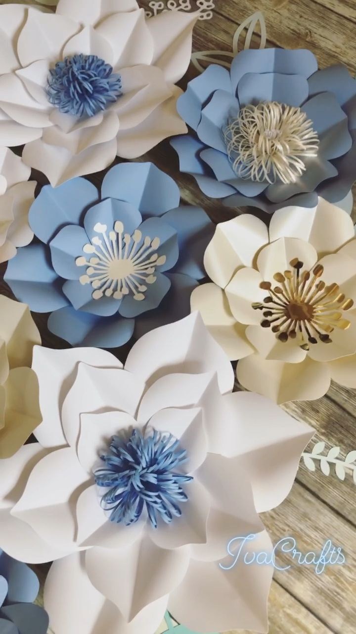Large Paper Flowers, Wedding Backdrop, Blue and White Floral Arrangement, Wall Decor