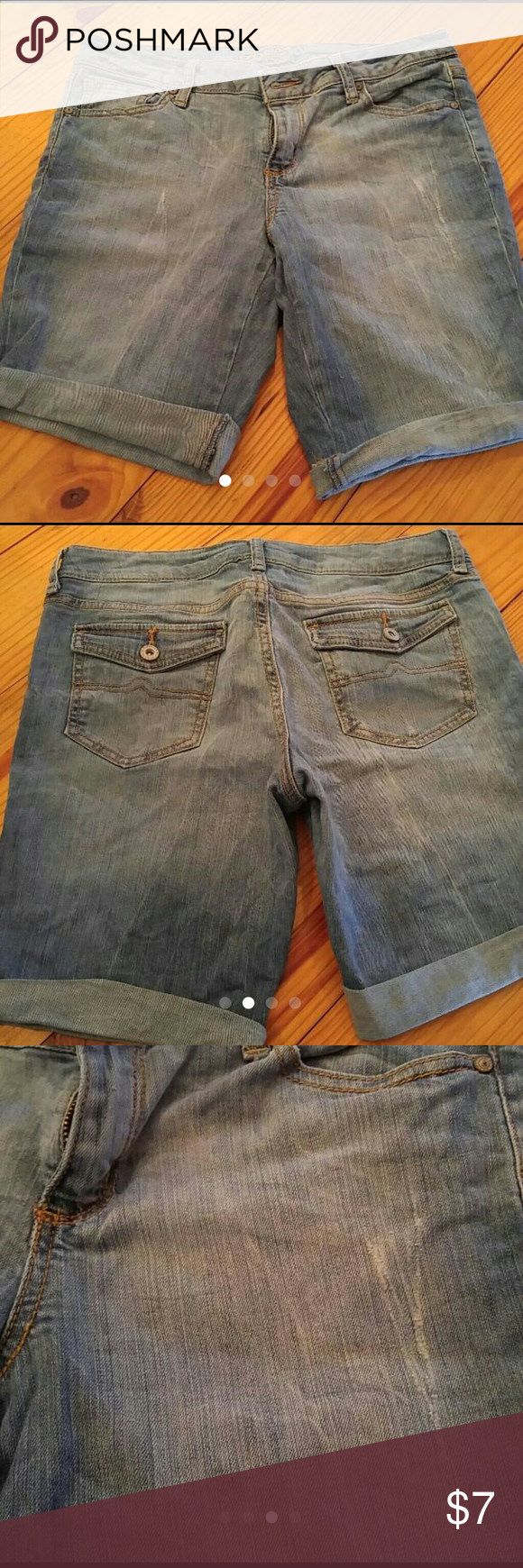 Arizona jean shorts Arizona jean shorts size 7. Mid-length, light wash, slight disressed. In great condition free on any imperfections. Only selling because they are too small. From a clean and smoke-free home. Arizona Jean Company Shorts Jean Shorts