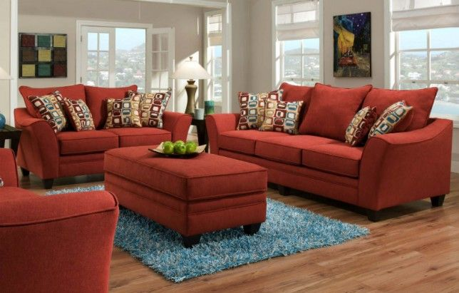 Oversized Red Sofa And Chair And A Half Red Fabric Sofa Burgundy Living Room Living Room Collections
