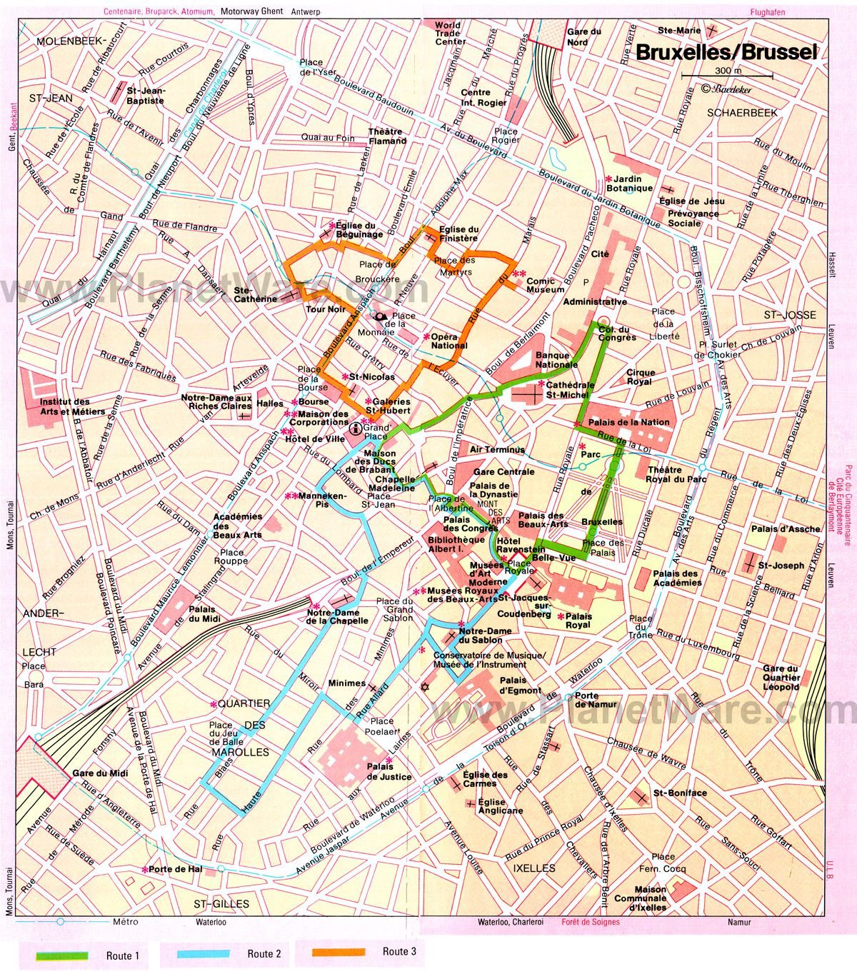 Brussels Walking Tours Map - Tourist Attractions | Belgium ...