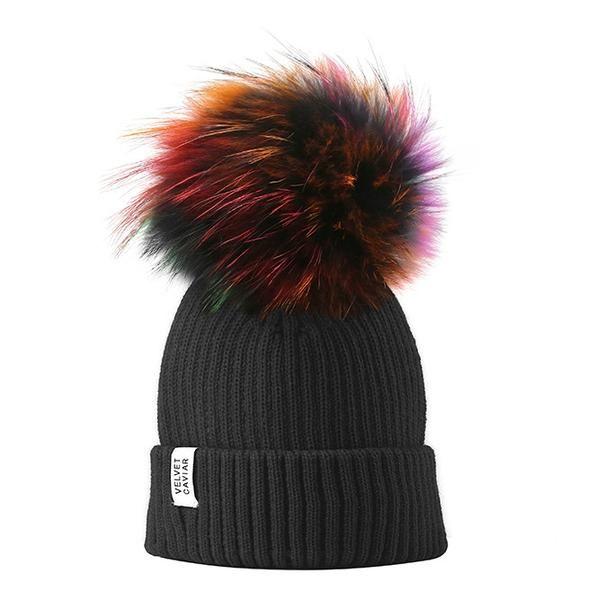 05fdd51c62e Lux Black Beanie Rainbow Fur Pom