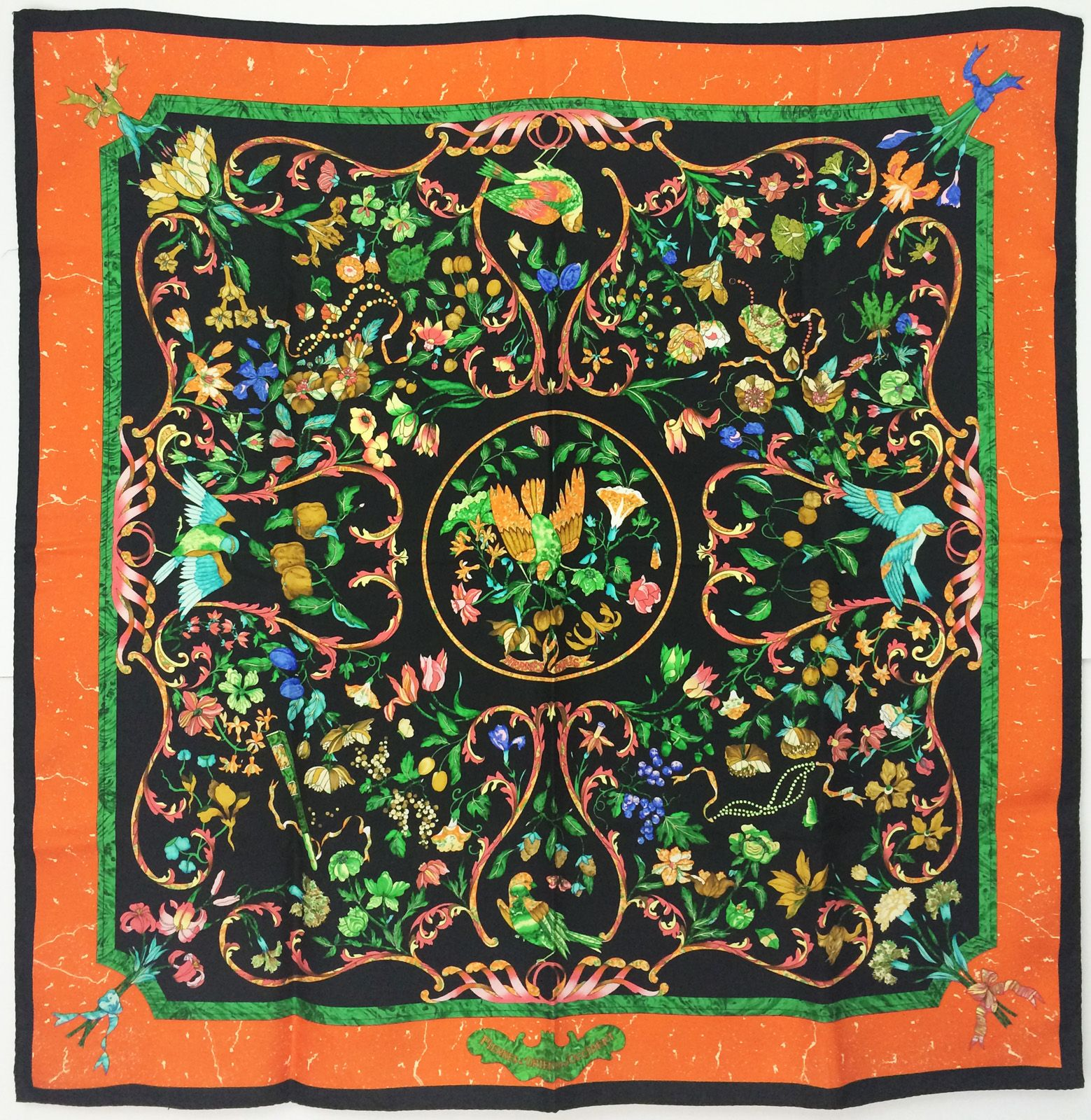 This vintage Hermes scarf is made to look like marble, and has a rock  theme, along with simulated pietra dura design of foliage and birds. ab869d13af8