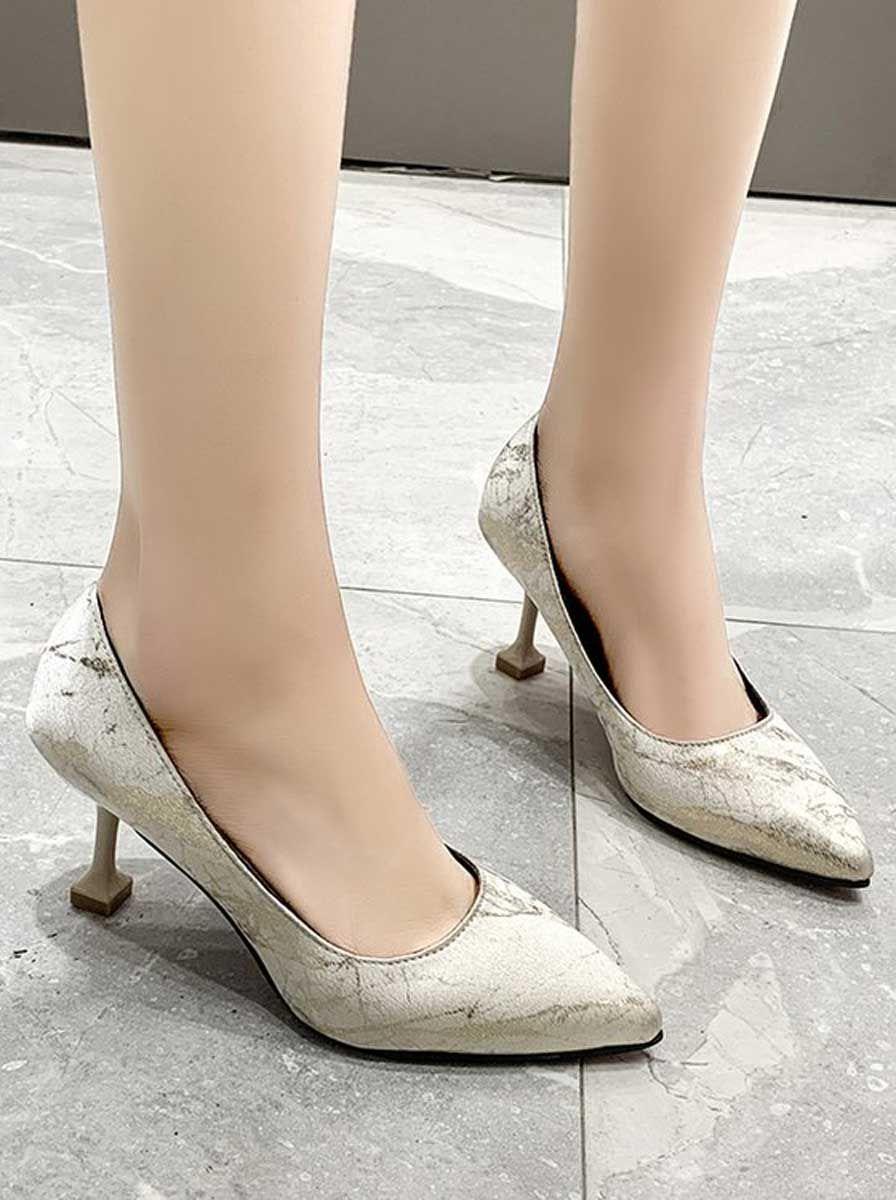 Beige Pattern Slip On Heel Dress Shoe 2202 In 2020 Heels Beige High Heels Dress Shoes