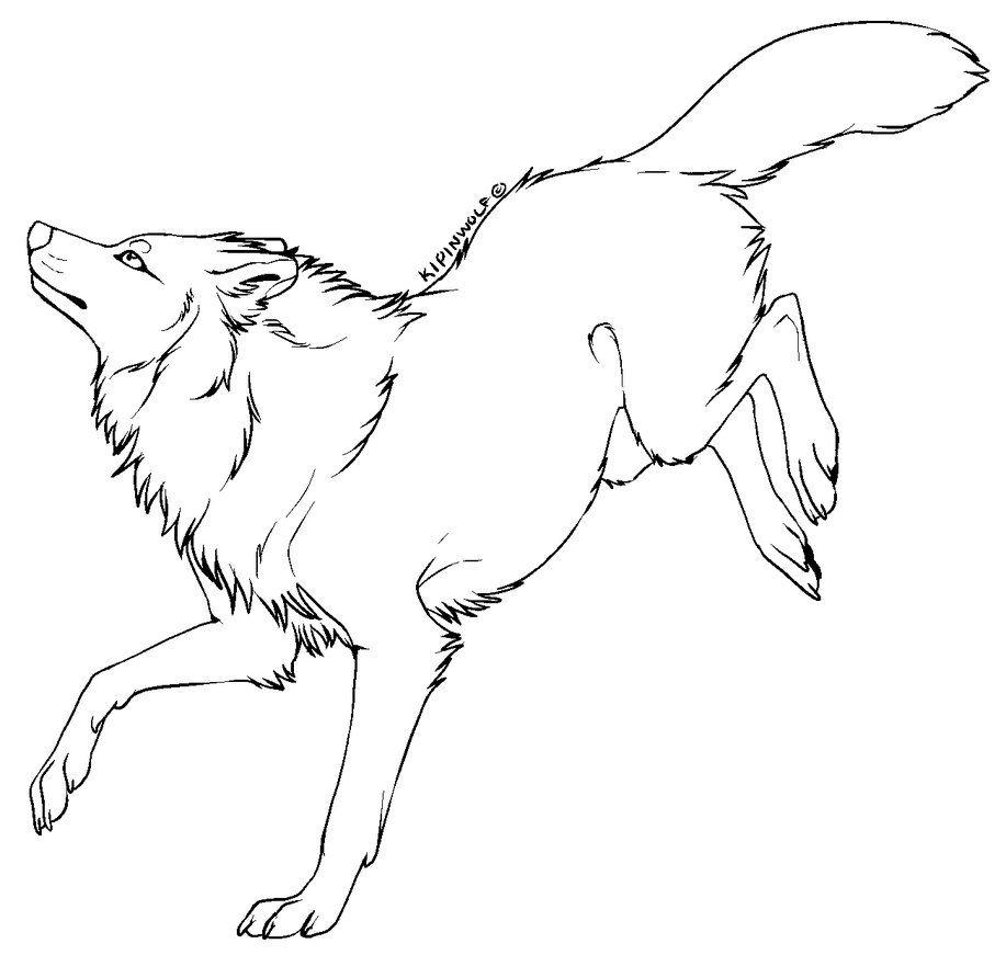 Free lineart wolf 2 by Kipine (с изображениями) Эскиз