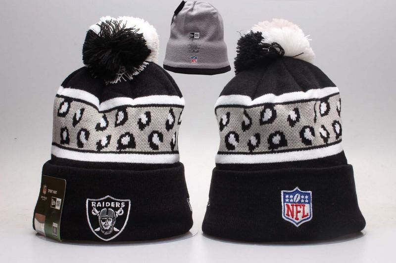 Men s   Women s Oakland Raiders New Era NFL Black Polar Prints Cuffed Knit  Pom Pom Beanie Hat 88c63ed59