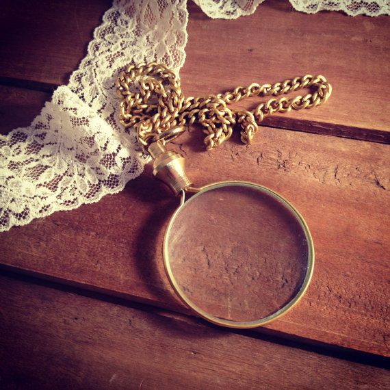 1 - Shiny Gold Brass Monocle Magnifying Glass Pendant Charm REALLY WORKS Shiny Gold Brass Vintage Style Jewelry Supplies on Etsy, $11.99