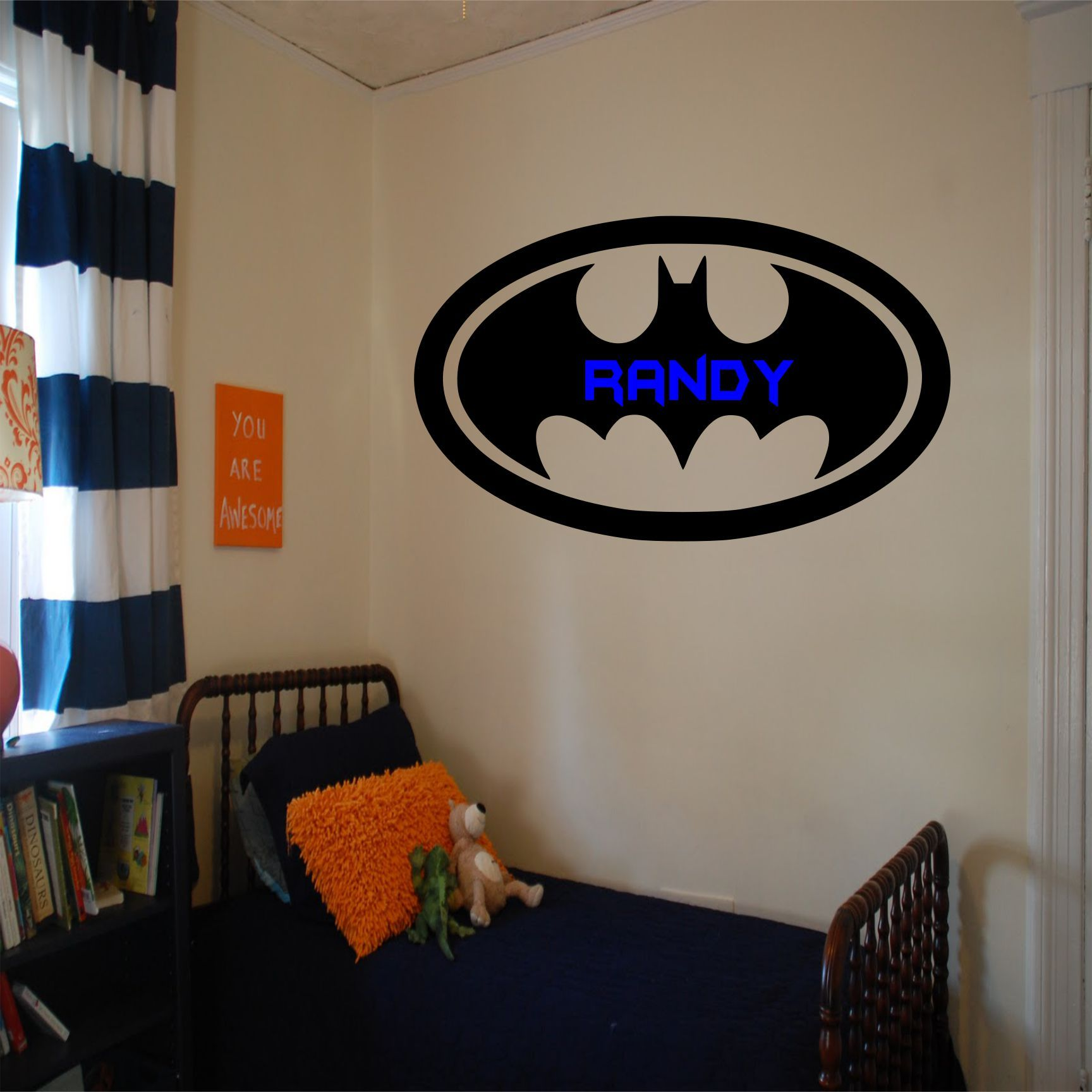 batman logo with personalised name wall decal the size of on wall logo decal id=47416