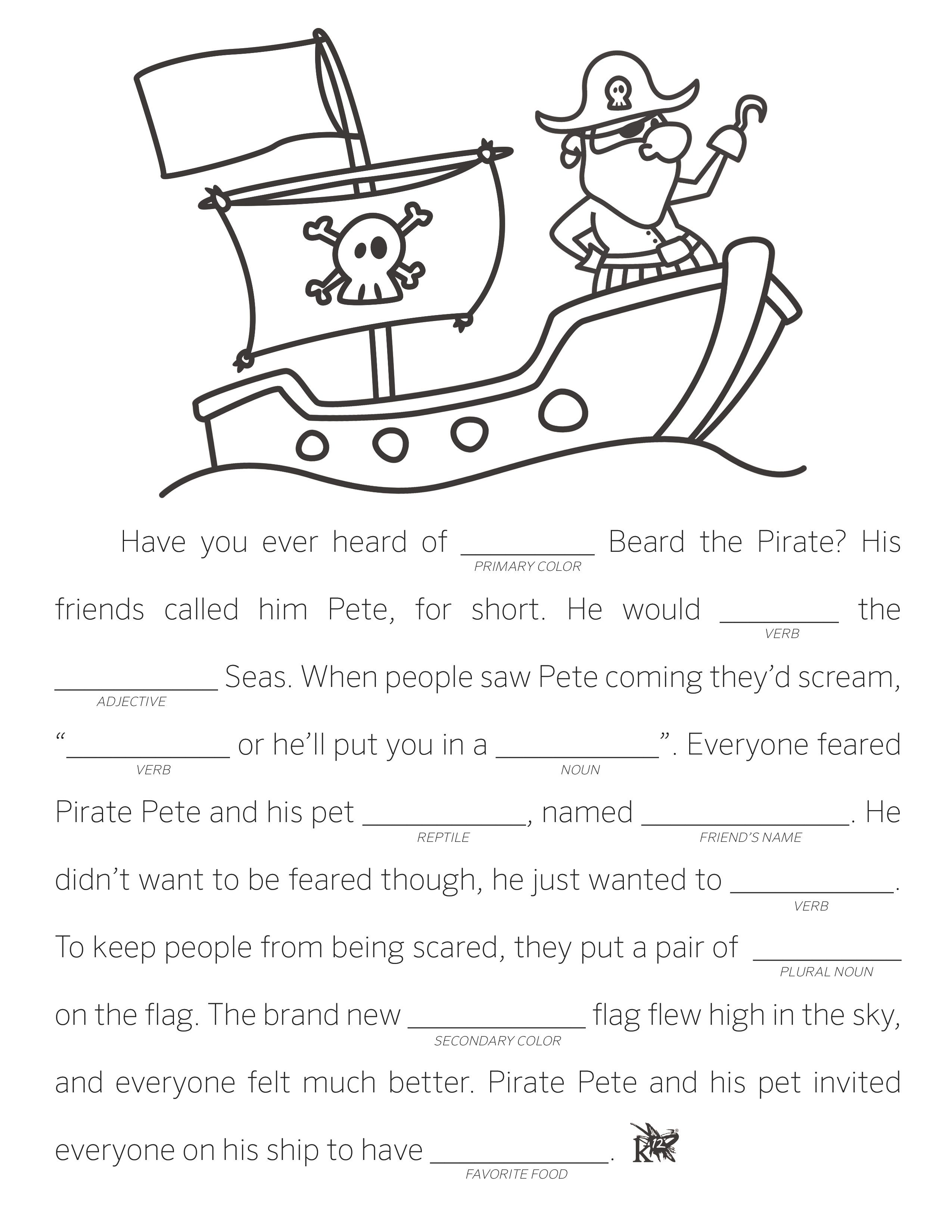 graphic relating to Funny Fill in the Blank Stories Printable referred to as Deliver Your Particular Fill in just the Blank Reports Language Arts