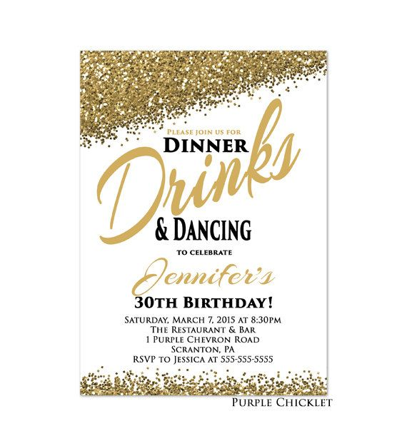 Good Cocktail Party Invitation Wording Ideas Part - 9: 30th Any Age Birthday Invitation Dinner Drinks And Dancing Invite Gold  Glitter Party Invite Cocktail Party