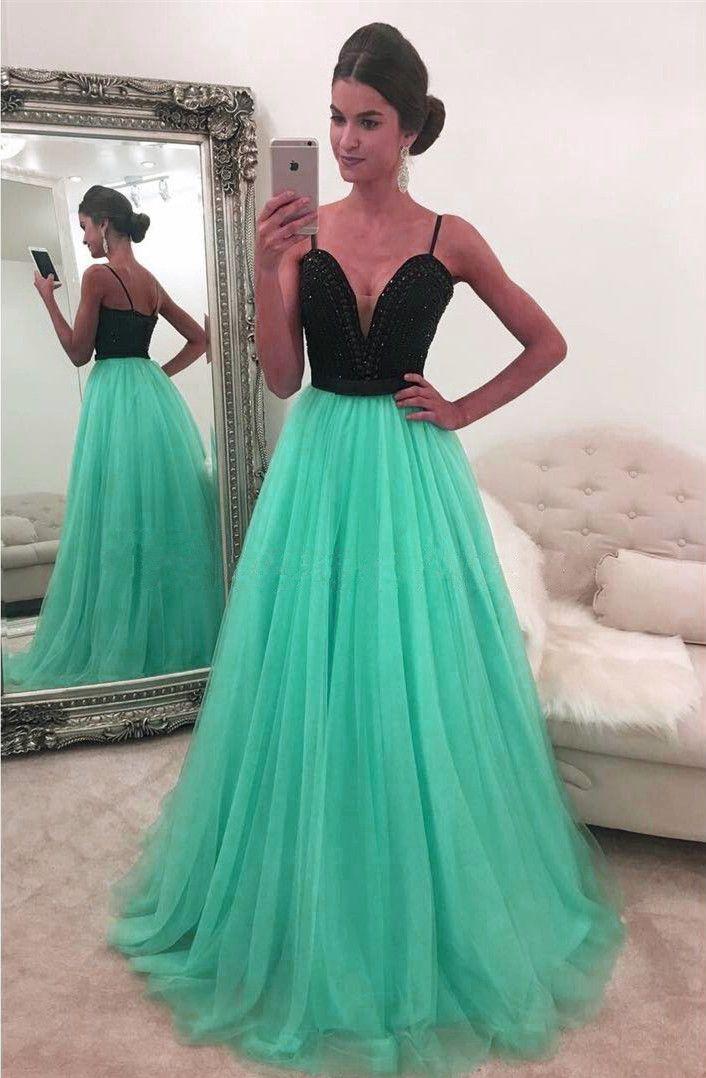 mint green prom dress,black top dress,sweetheart prom dress,tulle ...