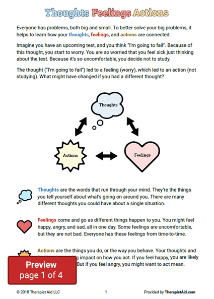 Cbt For Kids Thoughts Feelings Amp Actions Worksheet
