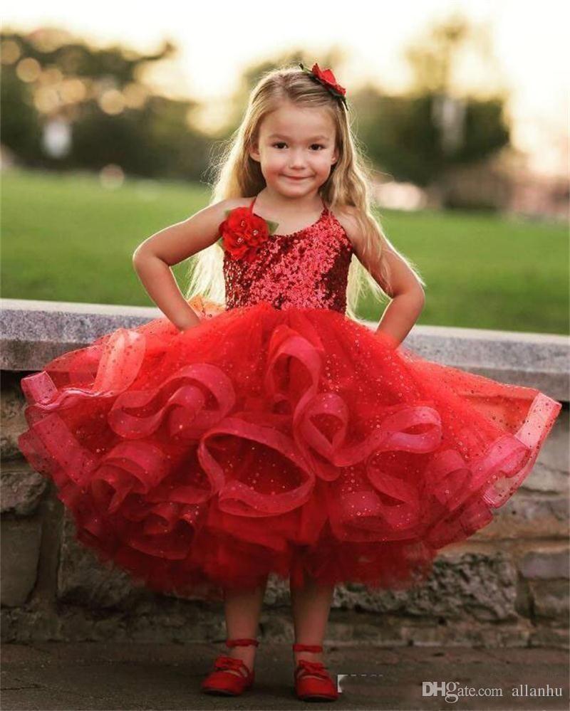 2017 New Design Lovely Red Girls Pageant Dresses Halter Neck Sequins Tea  Length Puffy First Communion Dress Cute Flower Girls Dresses 431dd85d6aa1