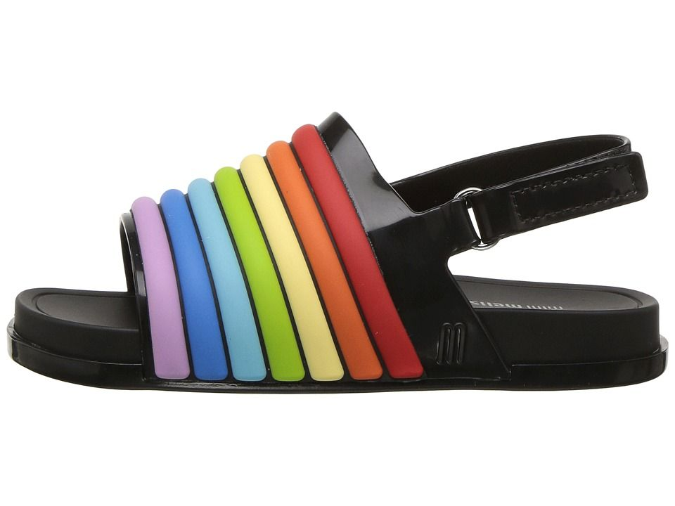 d41adfa8fbee Mini Melissa Mini Beach Slide Sandal Rainbow (Toddler Little Kid) Girl s  Shoes Black