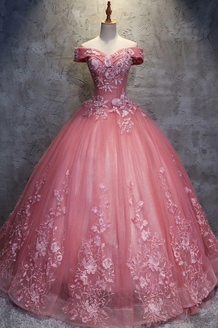 Robes de bal princesse de bal hors de lépaule longue en dentelle robe de bal robes de Quinceanera € 200.01 LBRPF4YC71F