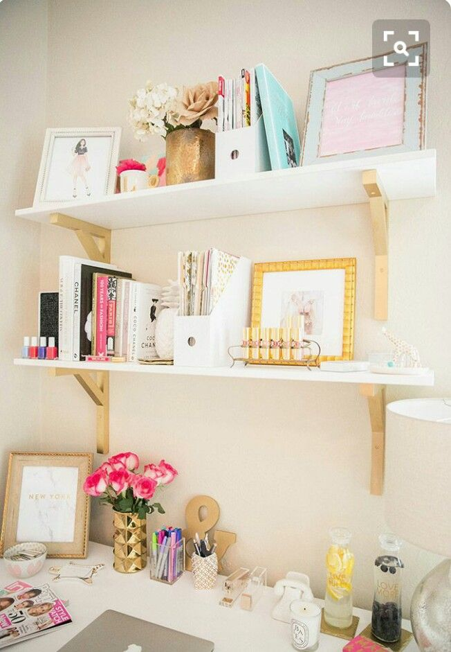 Cute Office Decor Organization Gold And White