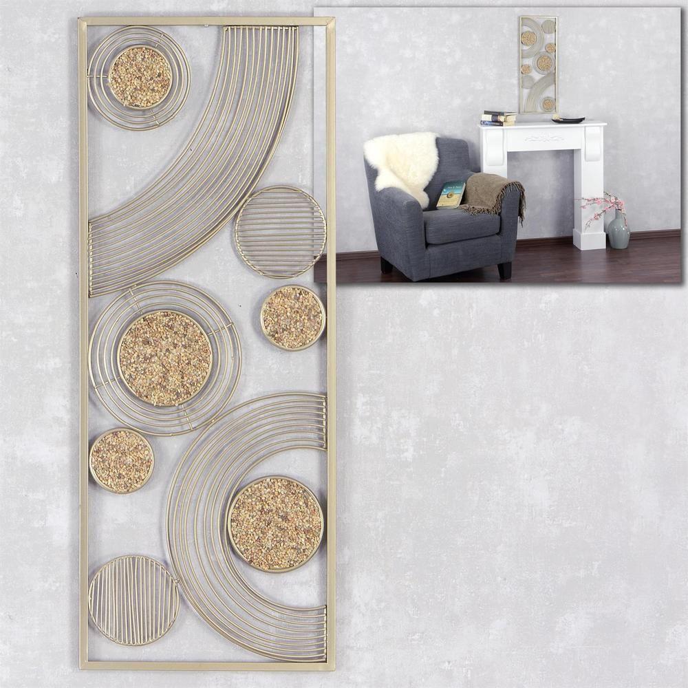Moderne Wanddekoration Wandbild Kreise Metall Steine Gold Sand 30x76cm  Design