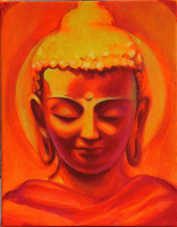 Orange Sitting Buddha by Meghan Fay