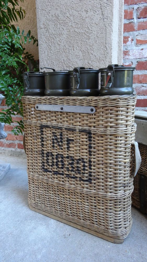 Set Antique Ww Ii Mortar Ammunition Canister In Wicker