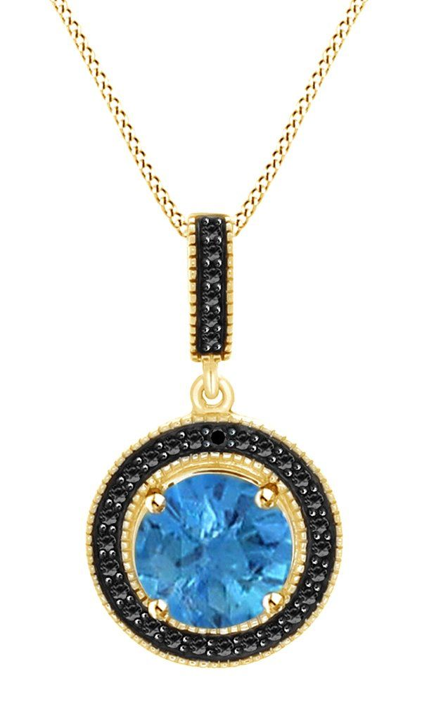 3.25 Ct Blue Topaz & Black Spinel Round Drop Pendant Necklace In 14K Yellow Gold Over Sterling Silver. Crafted In 14K Yellow Gold Over Sterling Silver. 3.25 CT Round Cut Blue Topaz With Black Spinel In Prong Set. The spring clasp secures well to hold your necklace in place. Be sure to give this stunning gift early so your loved one can wear it out on a romantic Valentine's Day. Note: Due to the difference between different monitors, the picture may not reflect the actual color of the…