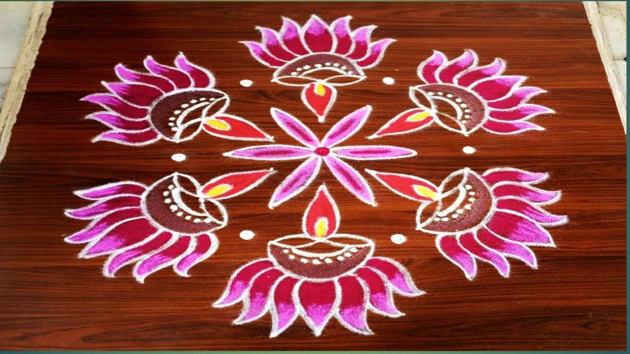 Easy daily flowers deepam rangoli designs with 7 dots made