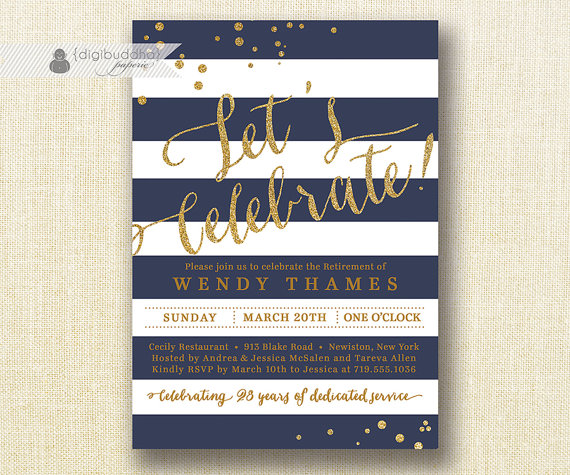 Navy gold retirement party invitation gold glitter navy blue navy gold retirement party invitation gold glitter navy blue horizontal stripes modern bon voyage career stopboris Image collections