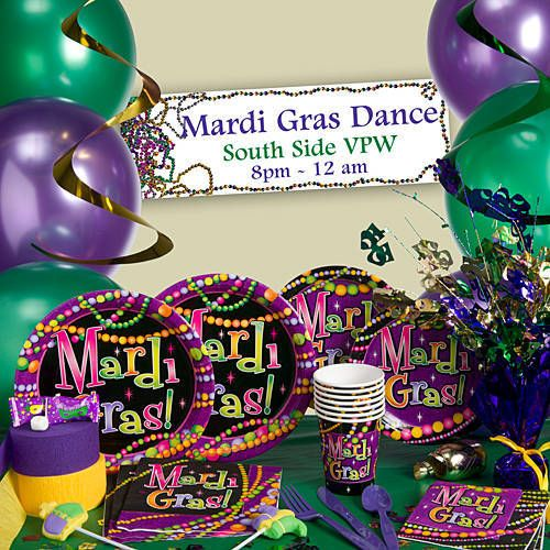 Our Mardi Gras Beads Party Supplies are printed with the phrase Mardi Gras! on a colorful party bead design.