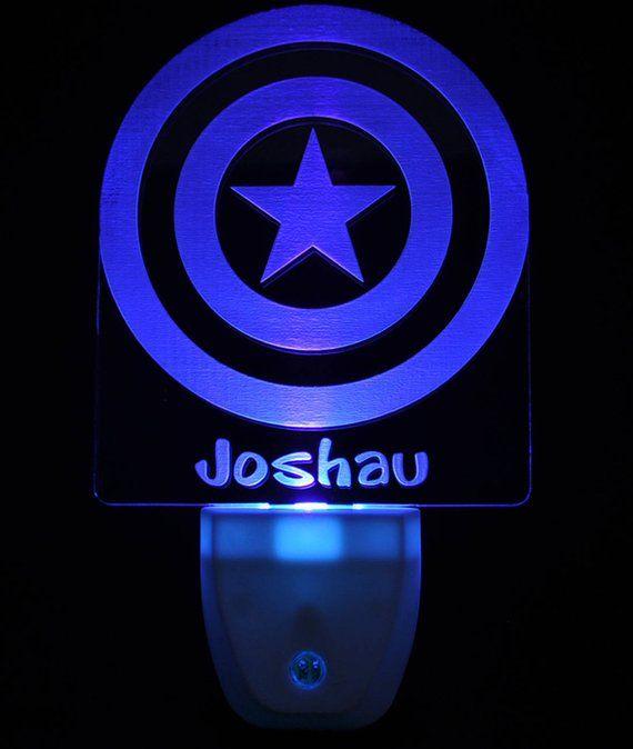 Captain America Shield Light Sensor Led Plug In Night Light