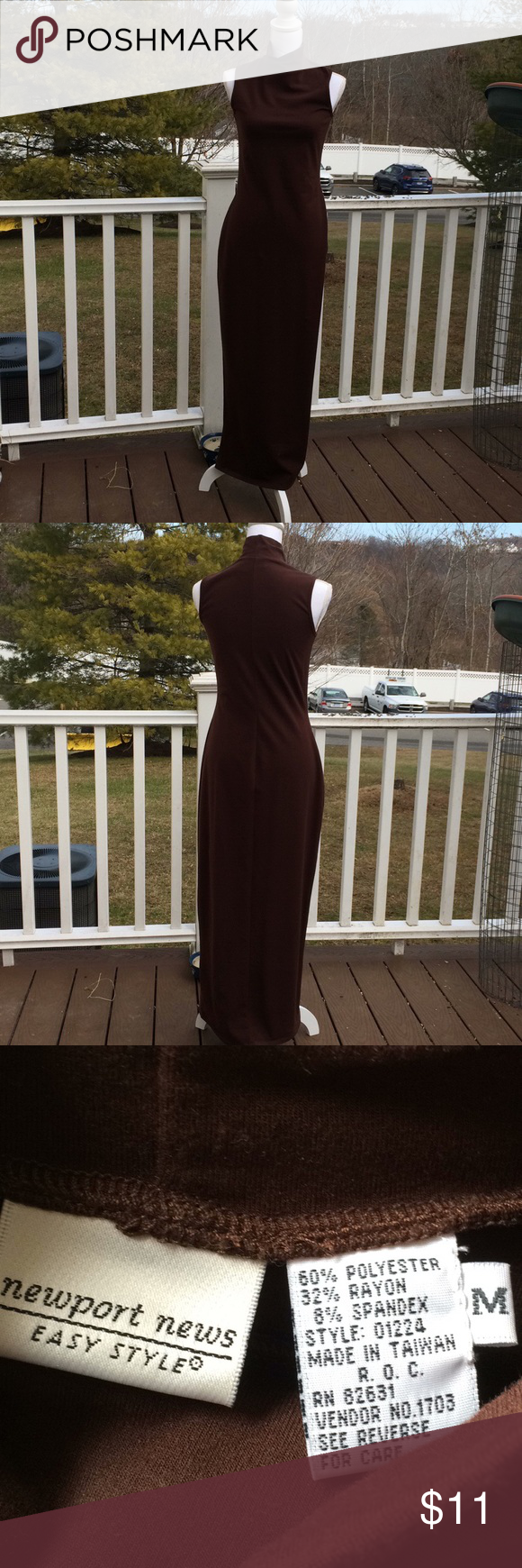 Vintage Newport News Maxi Dress From Newport News 2001 Double Expresso Color Mock Turtleneck Maxi Dress Doesn T Appear To Have Ev In 2020 Newport News Dresses Newport