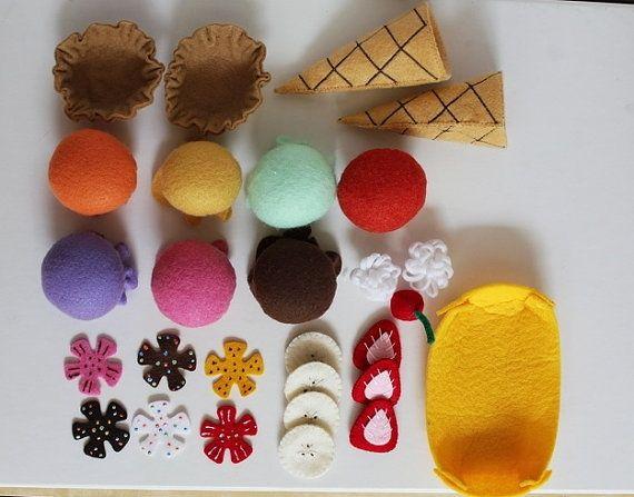 Felt Ice Cream Set by comiditas on Etsy, $31.00