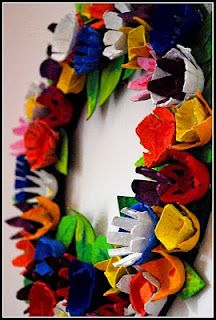 Highlighting this great egg carton wreath from http://homemadeserenity.blogspot.com for the Weekly Kids Co-Op. 100+ activities linked up and counting!