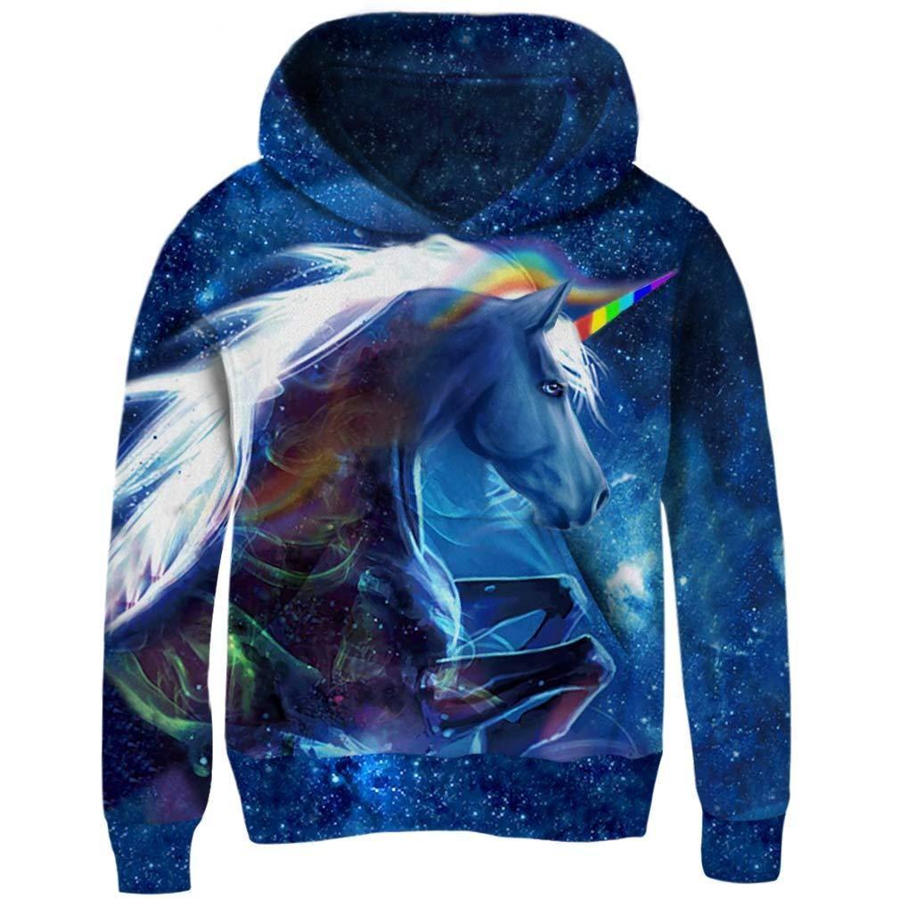 cbdcd687e8d1 Funnycokid Boys Girls Fleece Hoodies 3D Print Pullover Sweatshirts Hooded  Jumpers 3-14Y