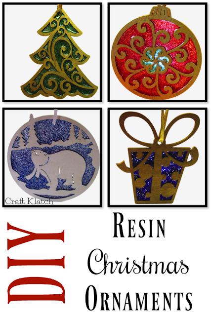 Resin Christmas Ornaments.Wood Resin And Glitter Christmas Ornaments Crafts Diys