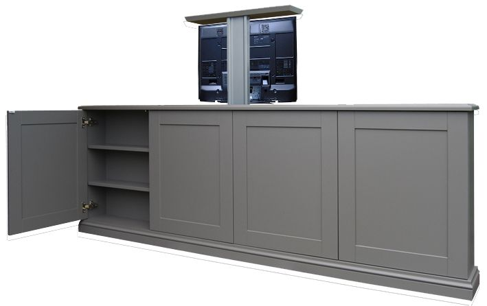 Cabinet Viewed From The Room Showing Pop Up Tv Lift