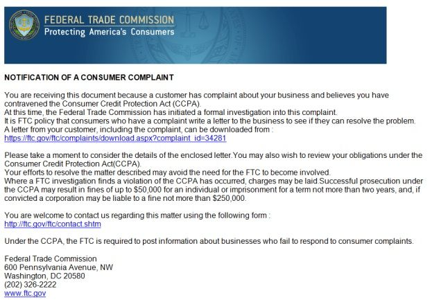 Scammers Hijack FTC\u0027s Name for Fake Complaint Emails Top Scams