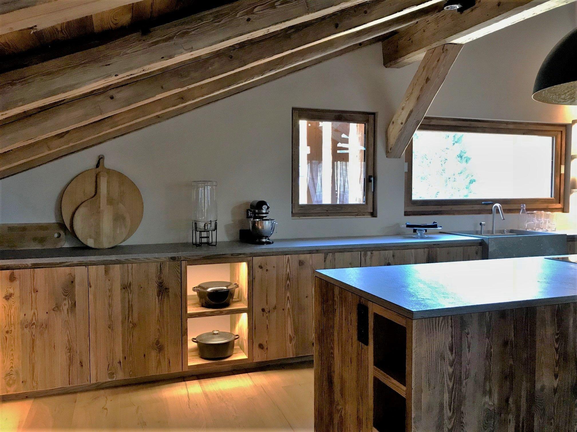 Cuisine, vieux bois, bois brut, rénovation, perspective, coin
