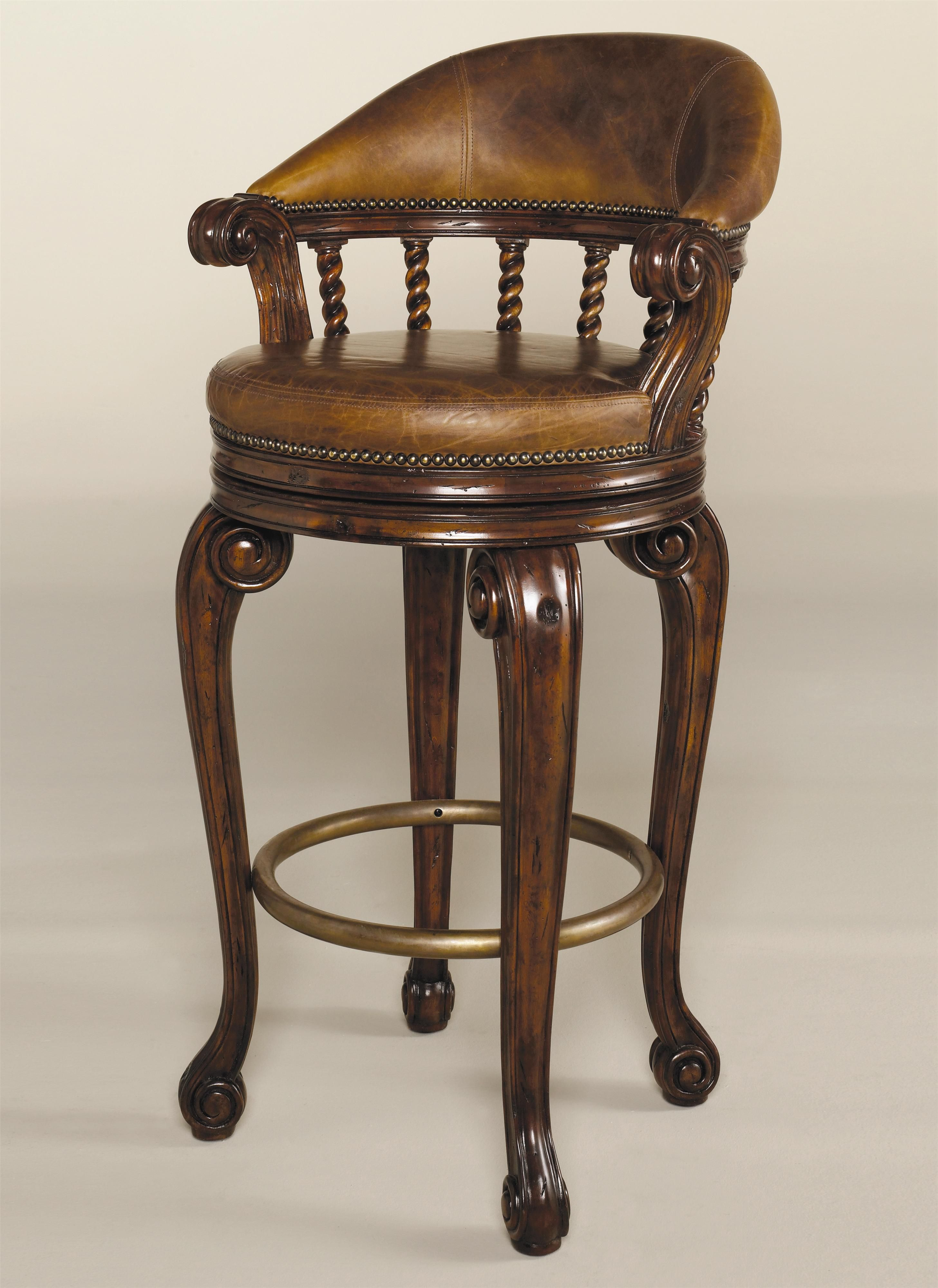 Mahogany Barstool With Leather By Maitland Smith With