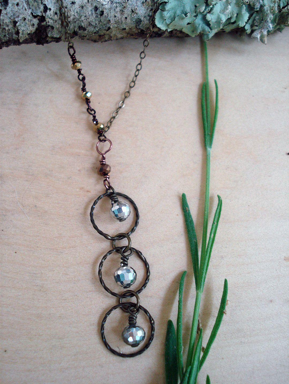geometric necklace, circle necklace, simple necklace, everyday necklace, pendant necklace, bronze necklace, boho necklace by kathywelshart on Etsy
