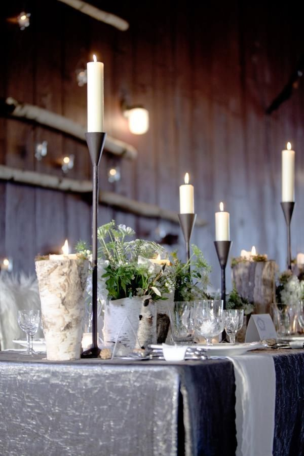 White Farm Table Barn Reception Rustic Luxe Winter Flower Centerpieces Birch Vases Fur Chair Covers Decor Wedding